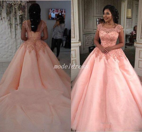 Blush Arabisch Ballkleid Quinceanera Kleider Backless Gericht Zug Appliques Long Prom Party Kleider für süße 15 vestidos de 15 anos plus Größe