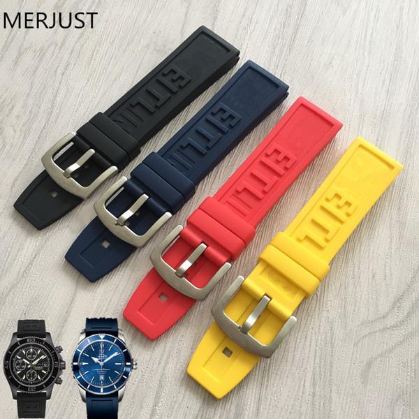 22mm 24 mm cinturino cinturino cinturino in silicone nero con cinturino fibbia cinturino accessori per orologi + strumenti per