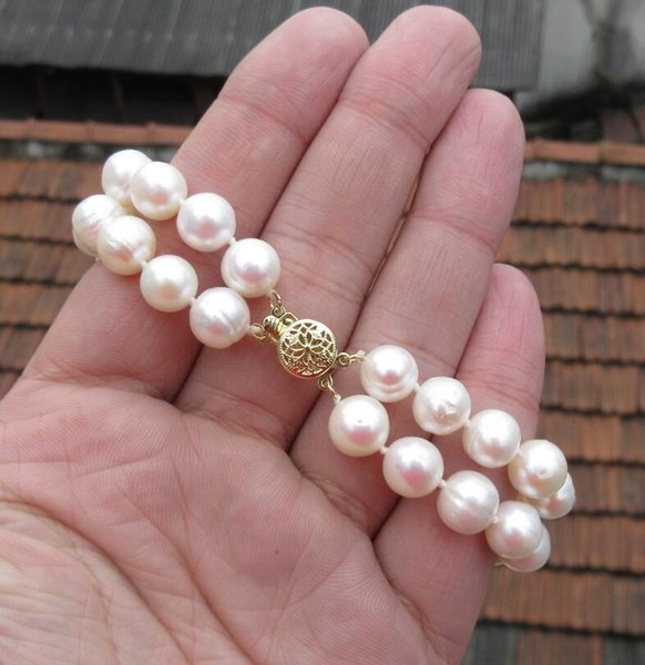 100% real fotos 2 LINHA 9-10mm SOUTH MAR PEARL PEARL BRACELET7.5-8INCH 14K OURO CLASP frete grátis