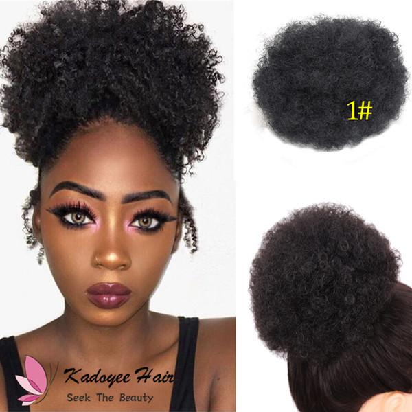 Acquista Kadoyee Sintetico Afro Riccio Capelli Chignon Updo Capelli Panino Ciambella Extension Disordinato Piatto Scrunchia Scrunchy Colore Variazione