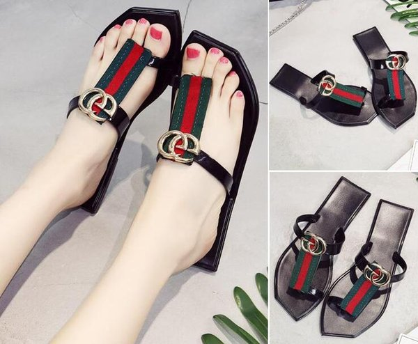 Women gBrand Sandals Slide Summer Fashion Wide Flat Slippery With Thick Sandals Slipper House Stud Flip Flop With Spike For Female