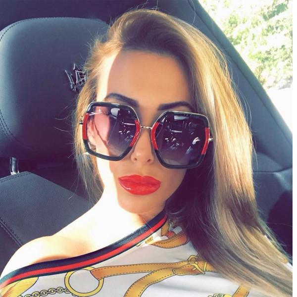 2018 platz luxus sonnenbrille marke designer damen übergroßen kristall rosa sonnenbrille frauen große spiegelgläser für weibliche uv400
