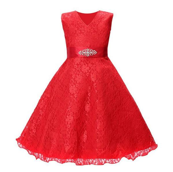 Flower Girl Dresses for Wedding Blush Pink Princess Tutu Sequined Appliqued Lace Dress skirt + diamond belt dress