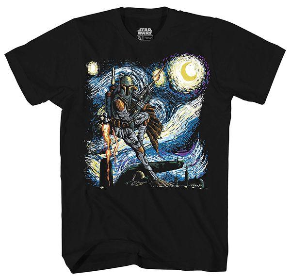 Tee shirt Tee shirt Homme Tee-shirt Graphique Adulte Homme 2018 Boba Fett Starry Night Tee-shirt 100% Coton Pour Homme Tee