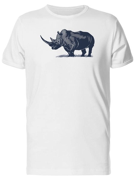 Rhino In B&W Art Men's Tee -Image by Shutterstock Top Tee 100% Cotton Humor Men Crewneck Tee Shirts