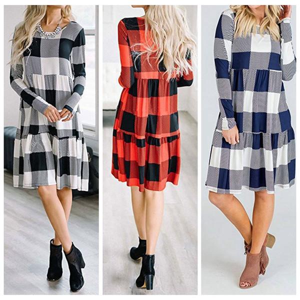 Mulheres manga comprida saia manga longa Verifique xadrez Casual solta Mini vestido Swing Túnica Vestido LJJO4238