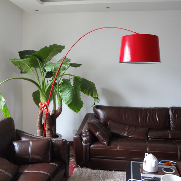 Modern fishing parabola floor lamp iron red yellow floor light Villa living room furniture exhibition Home lighing G913