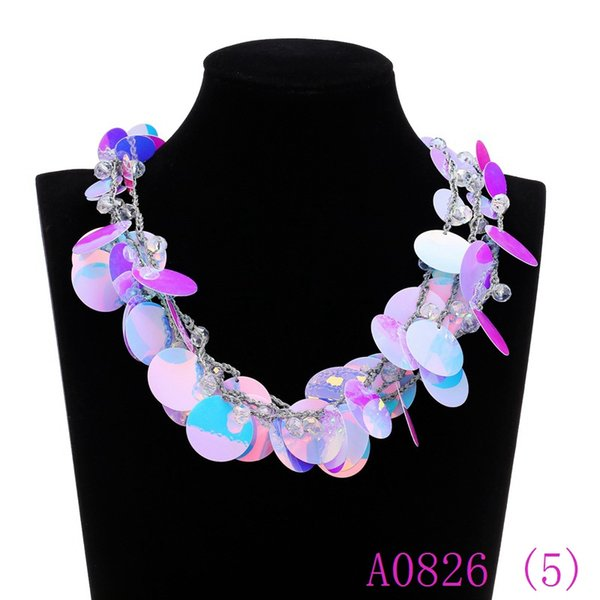 3pcs Multilayer String Round Sequins Chunky Statement Necklace Women Beads 100% Handmade Button Collar Choker Jewelry Gift A0826