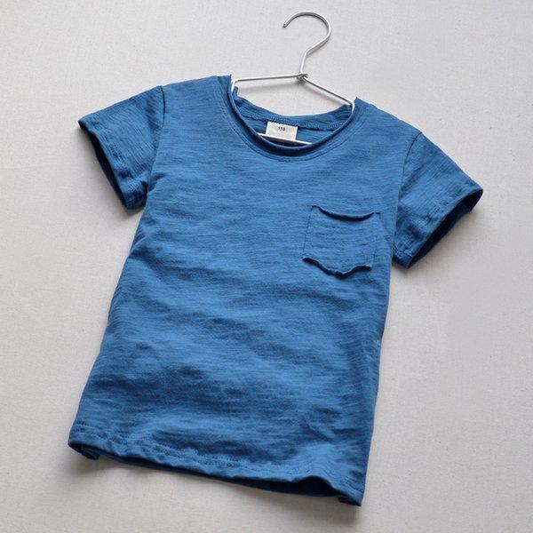 Kinder '; S T -Shirts 2017 100% Baumwolle O-Neck Boys T-Shirt Sommer Volle Größe Kurzarm-Ärmel Lässige Einfarbig Big Boy Tops Kleidung
