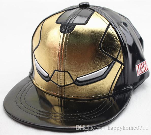 Kinder Iron Man PU Baseballmütze Hochwertige 3-farbige optional einstellbare Größe Iron Man Cosplay Prop Hut Party Geschenk