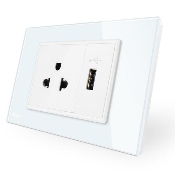 us Power Socket with usb charger, White/Black Crystal Glass Panel, AC 110~250V 16A Wall Power Socket, VL-C9C1US1U-11/12