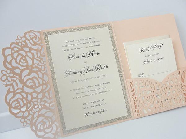 top popular Light Pink Wedding Invitations Silver Glitter Graduation Evening Party Invites Free Black Printing 2021