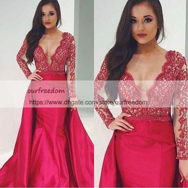 2019 Elegant Red V Neck Evening Dresses With Long Sleeve Detachable Train Beaded Crystal Zipper Back Dubai Style Formal Prom Dresses Custom