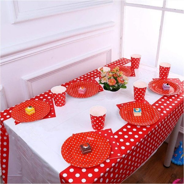 Cheap Polka Dot Plastic Table Cloth Kids Birthday Party Decoration Baby Shower Decoration Supplies Disposable Tablecloth