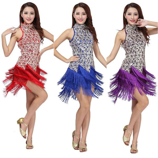 Pailletten 2018 Fransen Rock Frauen Latin Tango Ballsaal Salsa Tanzkleid Party Kostüm Quaste Frauen Kleider