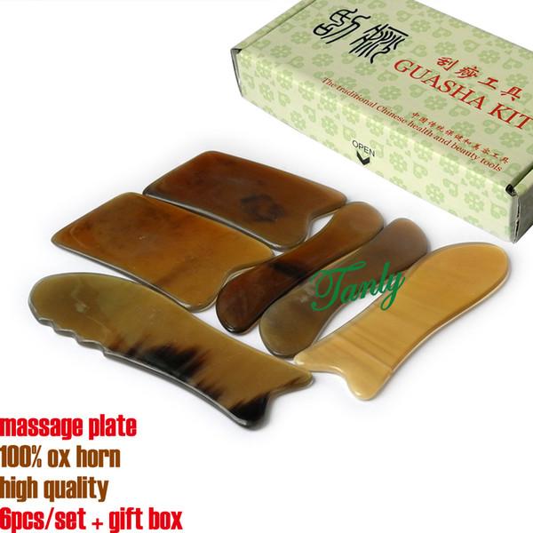 Corno di bue 100% massaggio di bellezza di buona qualità Strumento Guasha 6 pz / set Modello Corno di bue No: 14