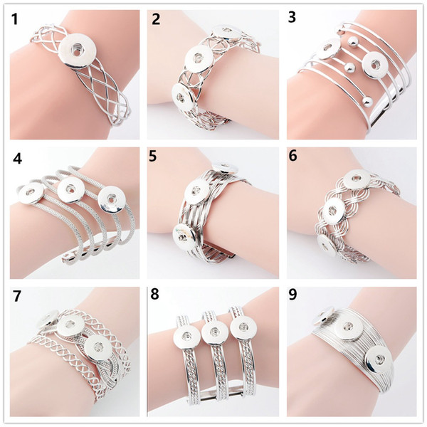 New Women's Fashion Charms bangle Retro Silver alloy Bracelets 18MM Snap Button Bracelet Handmade diy jewelry cuff link hand chain gifts