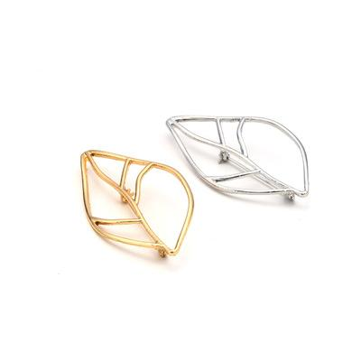 Original Design Fashion Accessories Simple Makings Street Brooch Clothing Accessories Alloy Leaves Lady's Brooch Gold And Silvery