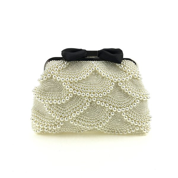 Factory Direct Sale, Heng Mei Bow, Hand Held Dinner, Handmade Pearl Embroidered Pearl Bag, European And American Fashion Bags.
