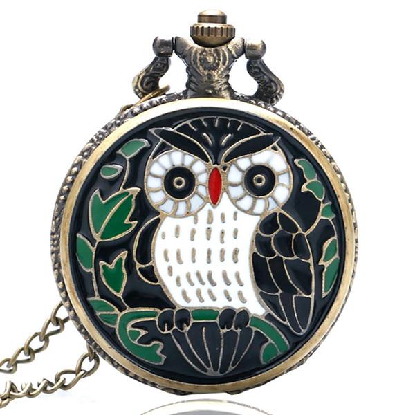 Cartoon Owl Painting Animal Orologio da tasca per donna Uomo Epossidica Piccola bella collana sottile Cute Girl Clock Regali Relogio De Bolso