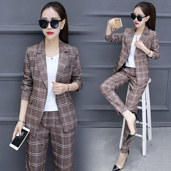Set 2018 Spring New Style Women's Fashion Plaid Small Suit Set Female Suit Pants Temperament Elegant Two-piece