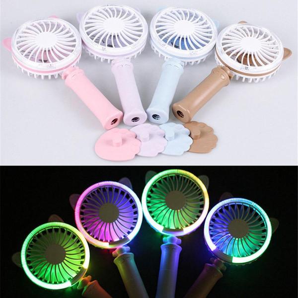 Mini Handheld Fan Cat Style Leichte wiederaufladbare USB Fan tragbare Tischventilator LED bunte Nachtlicht für Reisen zu Hause und im Büro verwenden