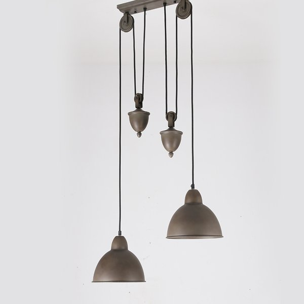 Nordic American Country Vintage Loft Pulley Pendant Lamp Cafe Dinning Room Light Iron Pulley Chandeliers Light Fixture