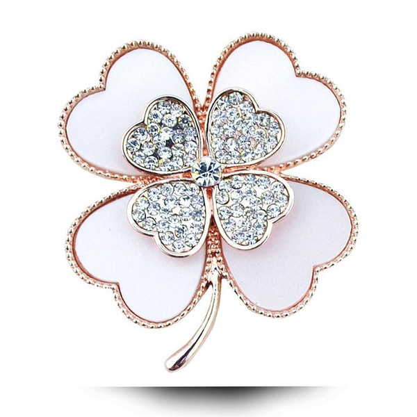 Wholesale- rhinestone clover brooch white and black color for choose plant pins and brooches wedding jewelry accessories