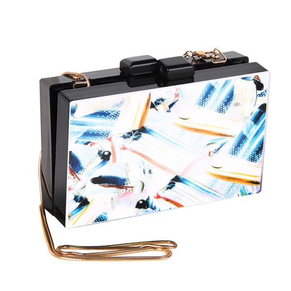 Rechteck 3D Printed Frauen Box Tasche Acryl Lady Schultertasche Mode Cretive China Abend Chic Weibliche Handtasche