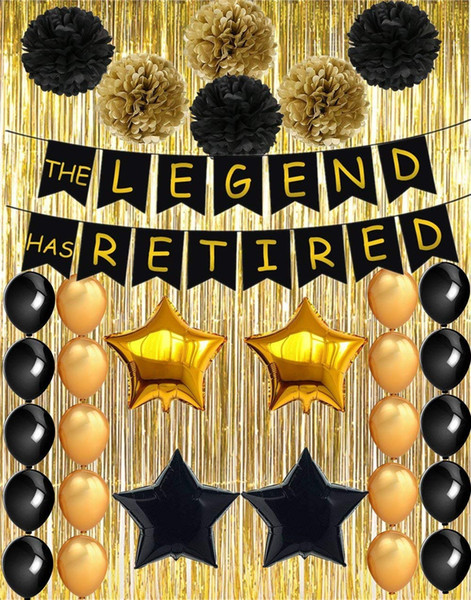 Happy Retirement Banner for Retirement Party Decorations Black Gold Retirement Party Supplie