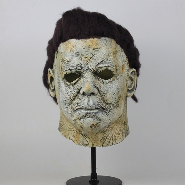 2018 film Halloween Michael Myers maschera cosplay casco in lattice con capelli orrore adulto casco Festa di Halloween Puntelli spaventosi