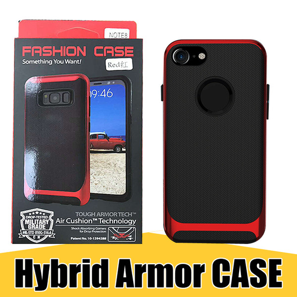 Hybrid Armor Rugged Cellphone Cases TPU Back PC Bumper Slim Phone Cover for iPhone X 8 7 Plus Samsung Note8 with Retail Package