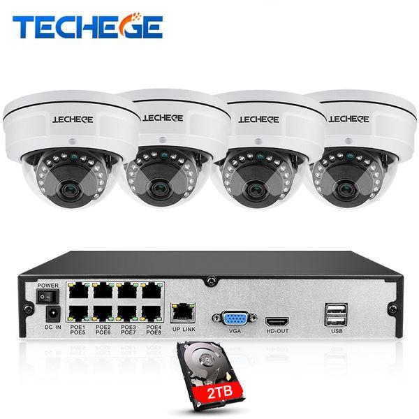 8CH NVR 48V POE 1080P Sistema di CCTV Telecamera di rete HD da 2 MP Sistema di telecamere di sicurezza anti-vandalismo resistente agli agenti atmosferici