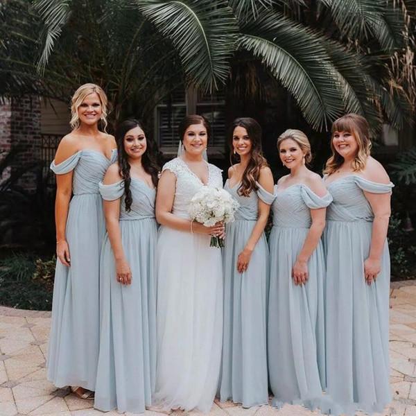 A Linha Da Dama De Honra Vestido Fora Do Ombro Até O Chão Chiffon Plissado Vestido Formal De Convidado Do Casamento 2019 Vestidos De Dama De Honra Vestidos