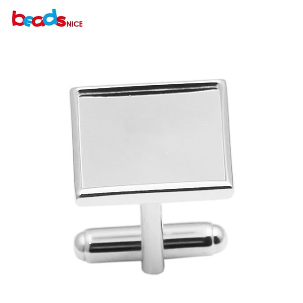 Beadsn925 Sterling Silver Square Photo Cufflink 16mm Cabochon Setting Wedding Accessories Groomsmen Gifts ID 30930
