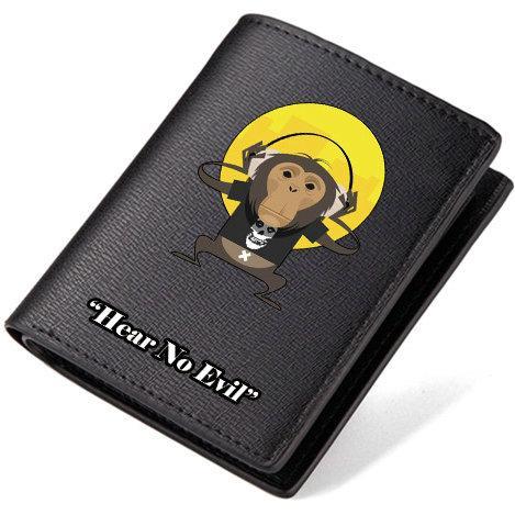 Hear no evil wallet Skull monkey purse Cool word short long leather cash note case Money notecase Loose change burse bag Card holders