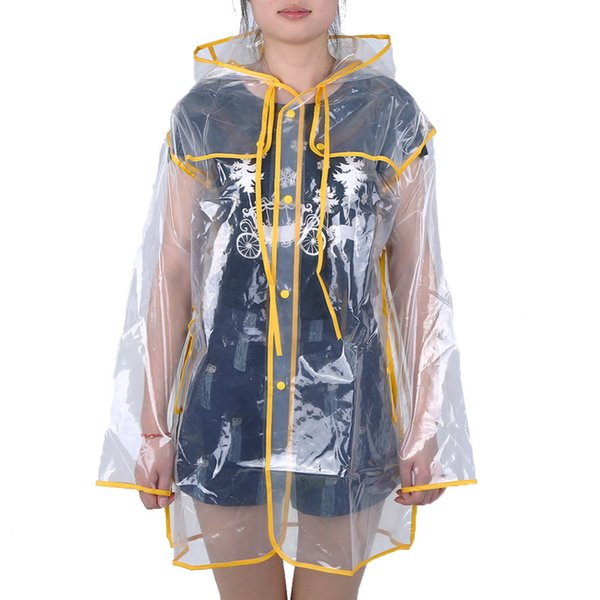 Transparent Rain Coat PVC Vinyl Waterproof Raincoat Outdoor Travel Runway Hooded Poncho Rain Coats Ladies Rainwear