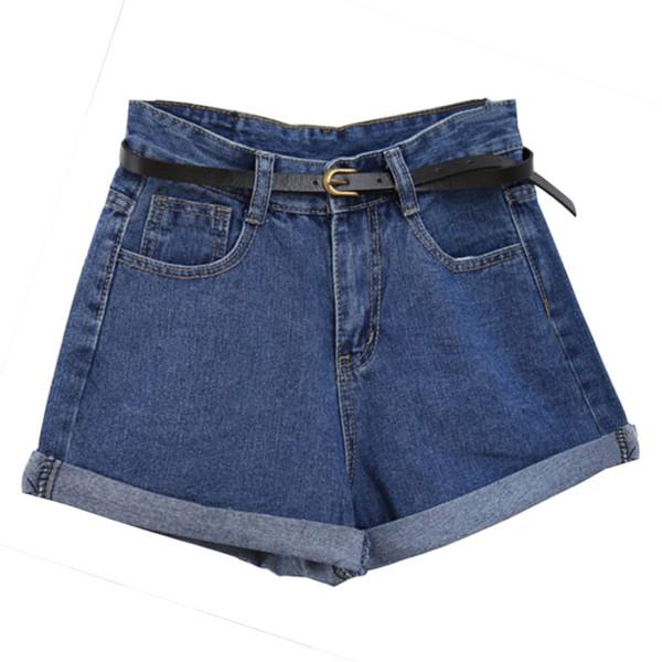 Tallas grandes 2XL cintura alta de la vendimia que corta los pantalones cortos de mezclilla Mujeres 2018 marca de moda de estilo europeo pantalones vaqueros cortos ocasionales casuales de Femme