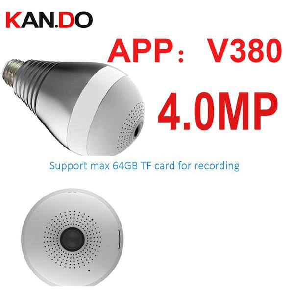 4.0MP V380 Wifi IP camera 360deg luce forma cctv P2P wifi fotocamera lampada di sorveglianza micro fotocamera 4.0mp baby monitor monitor della lampadina