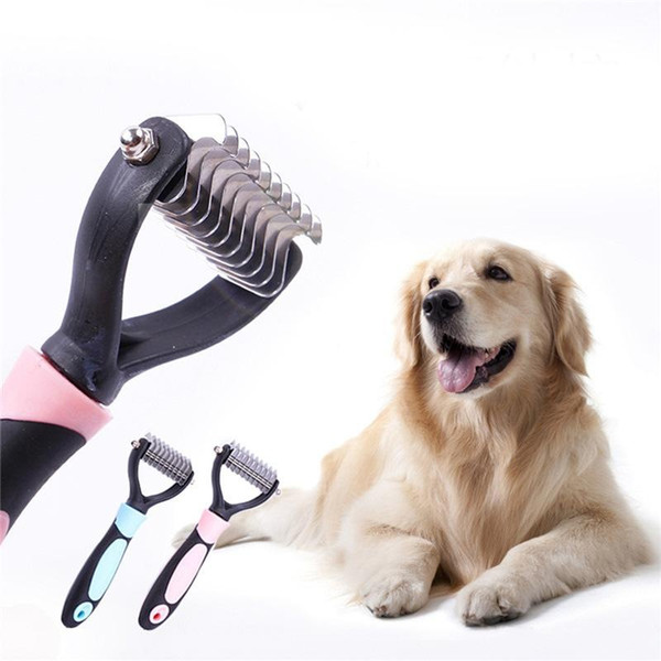 Cool Pink Blue Dogs Brush Dematting Grooming Deshedding Tool Trimmer Comb Rake Pets Puppy Brush Free Shipping