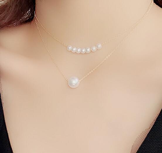 new style Simple double pearl clavicle chain web celebrity neck ornaments necklace female hanban student neck collar chain fashion classic e