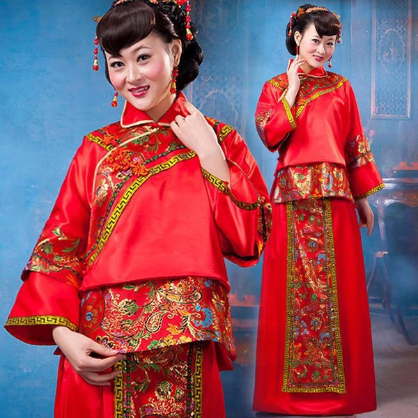 Red Chinese Women Wedding Bride Dress Toast Clothing Vintage Cheongsam Turn-Down Collar Qipao Traditional Marriage Suit S M L