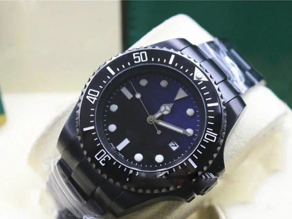 Hot seller Cinta Preta Homens SEA-DWELLER Cerâmica Bezel Stanless Fecho de Aço 116660 movimento Automático de Negócios Mens Relógios Casuais