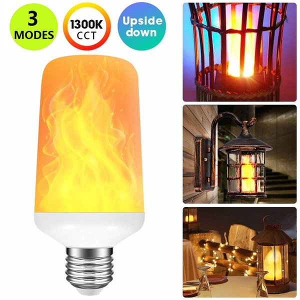 Creative 3 modes+Gravity Sensor Flame Lights E27 LED Flame Effect Fire Light Bulb 7W Flickering Emulation Decor Lamp