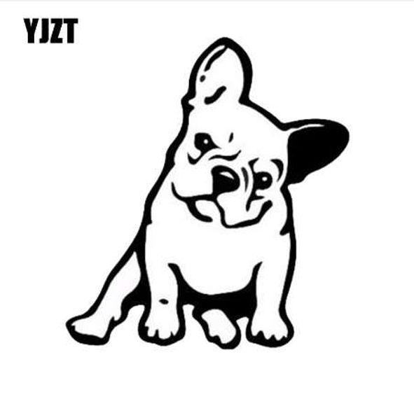 YJZT 11,5 * 12,7 CM FRANZÖSISCHE Bulldogge Hund Vinyl Aufkleber Fenster Dekoration Schöne Tier Auto Aufkleber Schwarz / Silber C6-1349