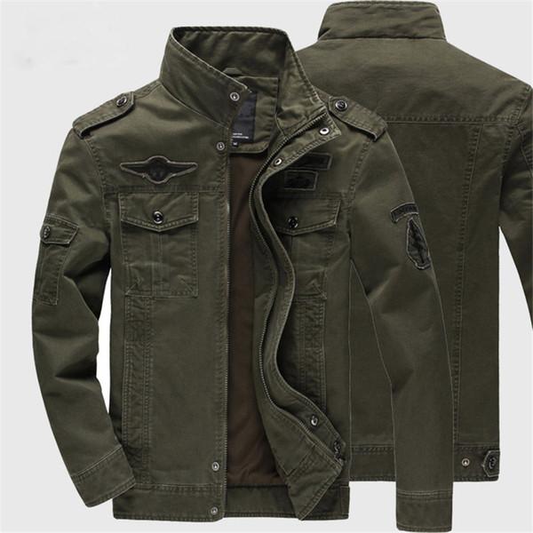 Jacket Windbreaker Men Jacket Slim Cotton Blend Stand Collar Long Sleeve Zipper Epaulet Embroidery Pocket Decoration Thicken Size M-3XL