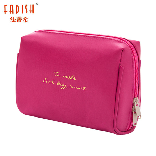 FADISH Cosmetic Bag Travel Solid Women Makeup Bags Female Zipper Cosmetics Bag Portable Travel Make Up Case Pouch Fashion