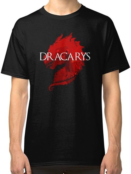 Dragon DRACARYS Men's Black Tees Shirt Clothing knitted comfortable fabric street style men t-shirt top Quality Cotton