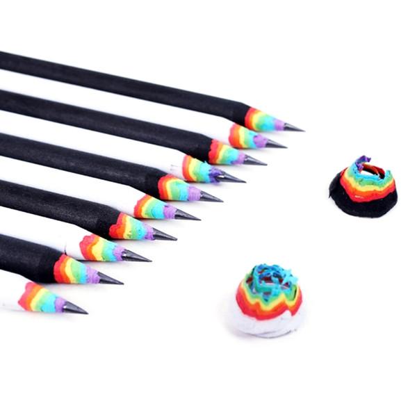 10Pcs Rainbow Pencils Drawing Painting Stationery School Kawaii Student Gift Set
