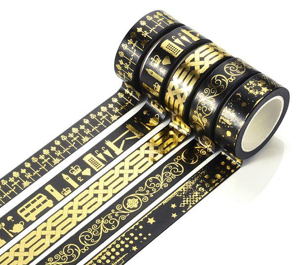 top popular Wholesale-15MMx10M Washi Tape Adhesive Tape Glitter Pattern Tape Self Adhesive Decorative Sticker Rolls Decor 2021